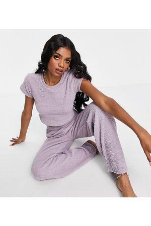 ASOS Dame Loungewear - ASOS DESIGN Tall exclusive lounge fluffy tee & trouser set in mink-Purple