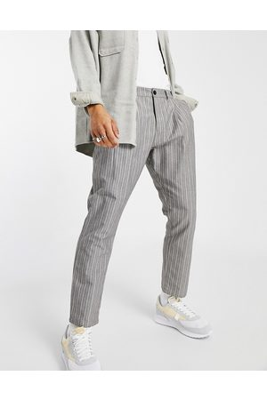 ASOS Herre Chinos - Cigarette fit trousers in textured stripe-Grey