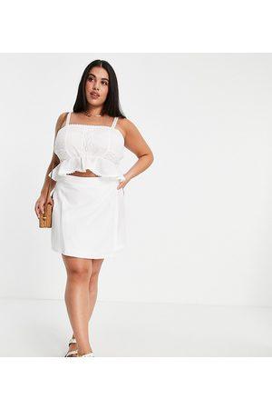 ASOS ASOS DESIGN Curve linen look wrap mini skirt in white