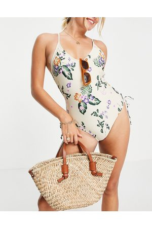 VERO MODA Dame Badedrakter - Ruched side swimsuit in cream floral-Multi