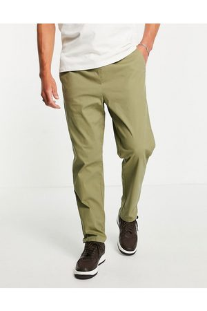 ASOS Relaxed trousers with elasticated waist in khaki-Green