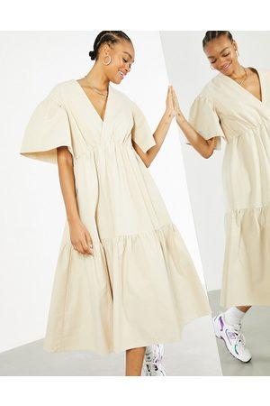ASOS Wrap tiered midi dress in stone-Neutral