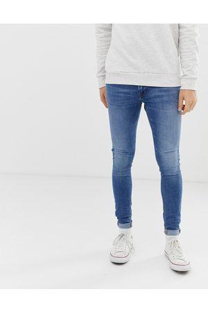 JACK & JONES Intelligence Tom spray on skinny fit jeans in blue