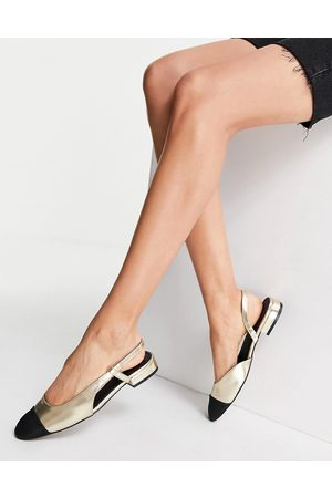 ASOS Lively slingback ballet flats in gold and black
