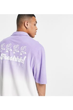 COLLUSION Oversized jersey shirt in with cartoon print in purple ombre pique fabric