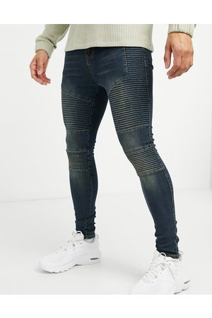 Good For Nothing Skinny biker jeans in mid wash blue