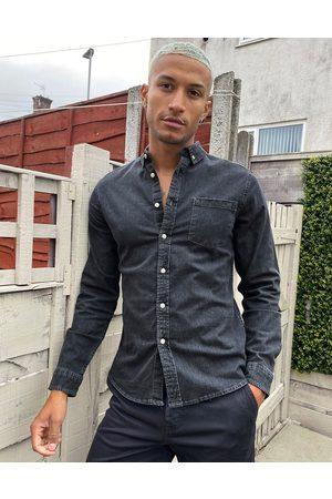ASOS Stretch slim denim shirt in washed black-Grey