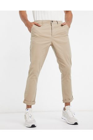 ASOS Tapered chinos in stone-Neutral