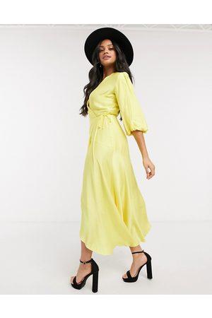 Liquorish Midi wrap dress with balloon sleeves in yellow