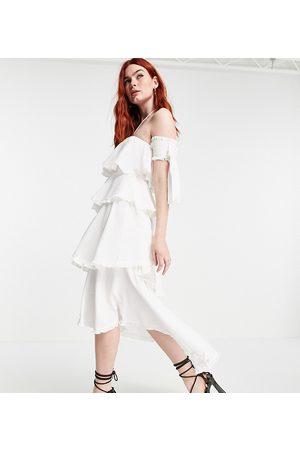 White Sand Dame Midikjoler - Cotton ruffle off shoulder midi dress in vintage cream