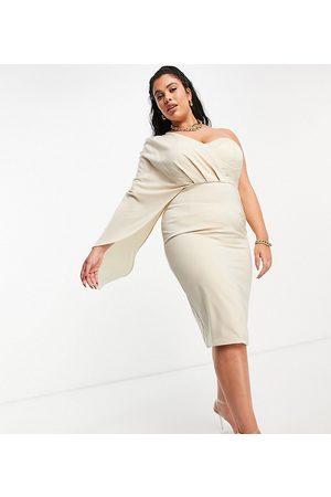 Lavish Alice Exclusive corset drape cape midi pencil dress in champagne-Gold