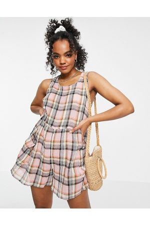 ASOS Smock sleeveless textured playsuit with pockets in multi check