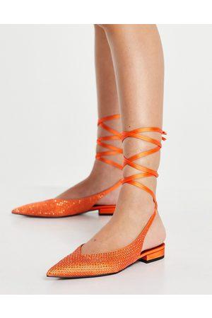 ASOS Lucent pointed tie leg ballet flats in orange satin
