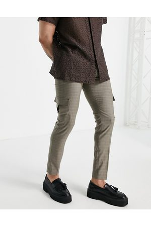 ASOS Skinny cargo smart trouser in brown check