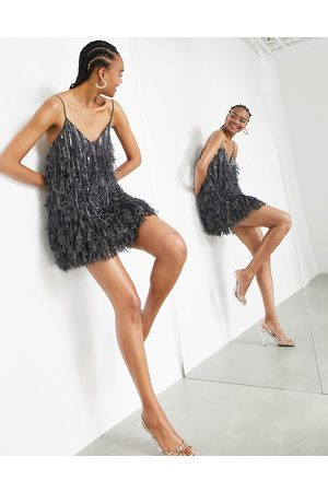ASOS Feather & sequin mini dress with low back in charcoal-Grey