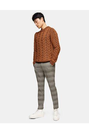 Topman Skinny check trousers in brown-Black