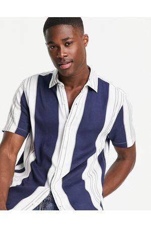 Topman Navy and white stripe shirt-Multi