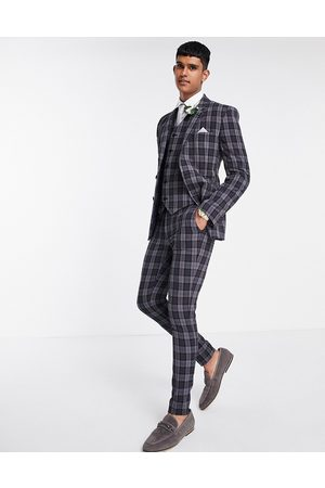 ASOS Herre Chinos - Super skinny suit trousers in oxford check in charcoal-Grey