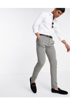 ASOS Herre Chinos - Super skinny smart trousers in grey dog tooth