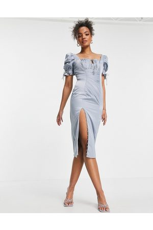 ASOS Dame Midikjoler - Ruched midi dress with puff sleeve and button detail-Blue