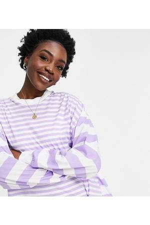 ASOS ASOS DESIGN Tall oversized long sleeve t-shirt with cutabout stripe in lilac-Purple
