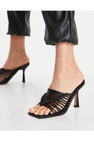 ASOS Dame Høyhælte sandaler - Nyle caged high heeled mules in black