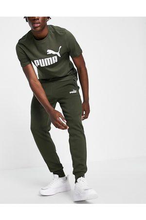 PUMA Essentials logo joggers in khaki-Green