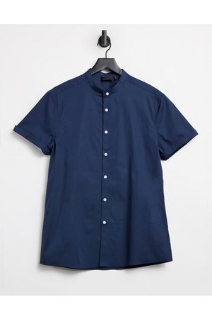 ASOS Stretch skinny fit shirt in navy with grandad collar