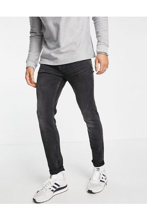 Topman Organic cotton blend stretch skinny jeans in washed black-Grey