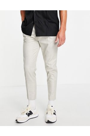 ASOS Tapered smart linen trousers in cream prince of wales check-White