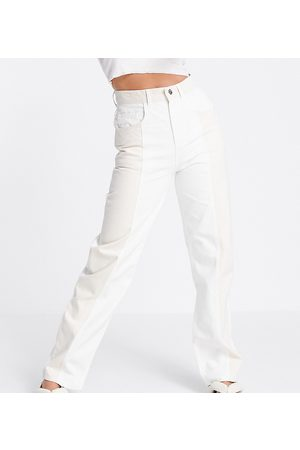 Reclaimed Inspired 90's Dad jeans in ecru and sand colourblock-White