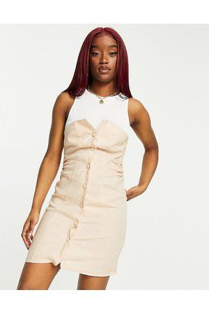 ASOS Jersey vest button through sleeveless linen mini dress in -Neutral