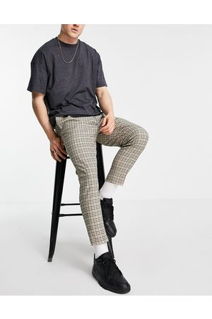 ASOS Tapered smart trousers in stone check-Neutral