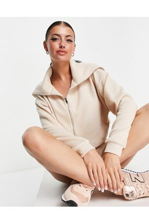 ASOS Textured rib short with zip through shawl collar tracksuit in oatmeal-Neutral