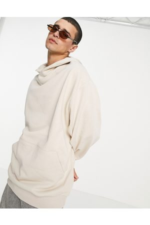 ASOS Oversized hoodie with crossover neck in -Neutral