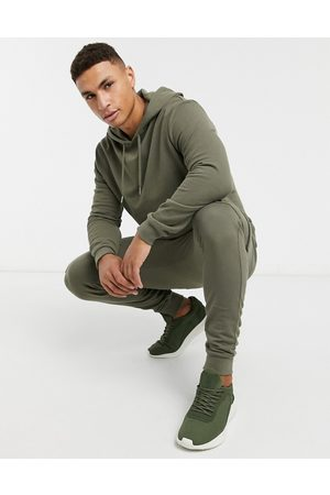ASOS Tracksuit with hoodie & skinny cargo joggers in khaki-Green