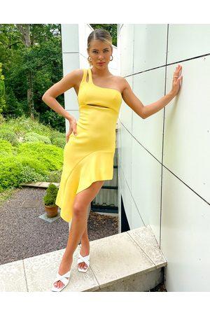 ASOS Dame Midikjoler - One shoulder double strap side pep pencil midi dress in lemon-Yellow