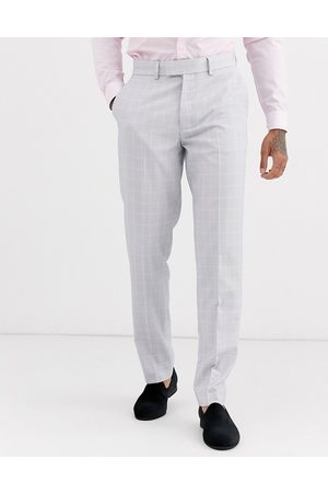 ASOS Wedding slim suit trousers in windowpane check in ice grey
