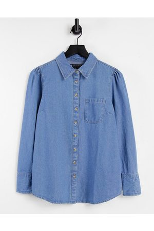 ASOS Soft denim puff sleeve shirt in midwash-Blue