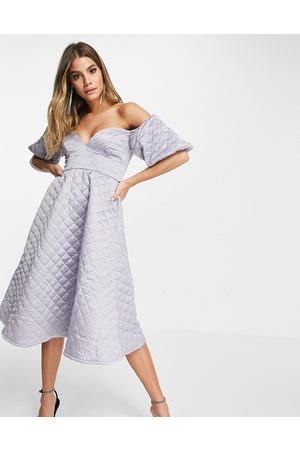ASOS Premium satin quilted off shoulder prom midi dress in silver grey
