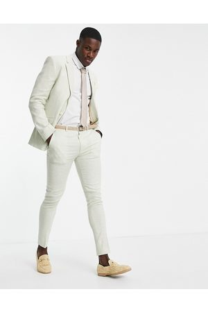 ASOS Wedding linen super skinny suit trousers with puppytooth check in green