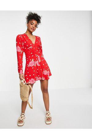 Free People Date night floral spot print mini dress in red