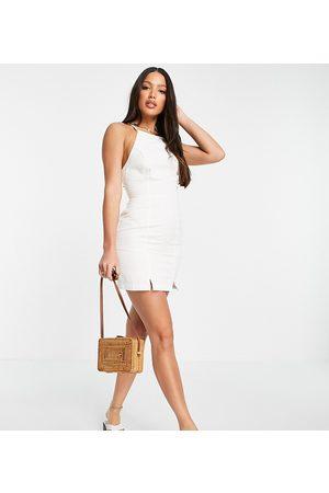 ASOS ASOS DESIGN Tall soft denim halterneck slip dress in white