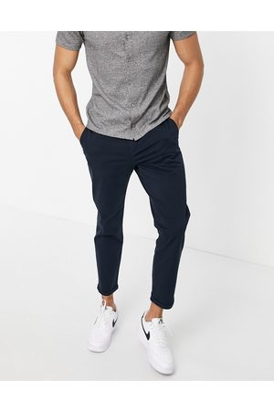 New Look Pleated chino trousers in navy
