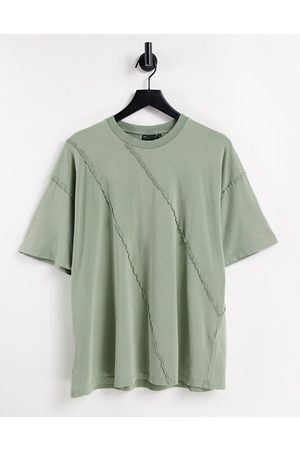 ASOS Oversized t-shirt with exposed seam detail in khaki-Green