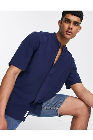 Only & Sons Short sleeve oversized shirt with grandad collar in navy