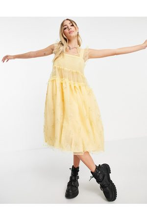 Sister Jane Juliet organza smock dress with frill sleeves in yellow