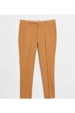 Twisted Tailor TALL tapered cropped trousers in tan-Brown