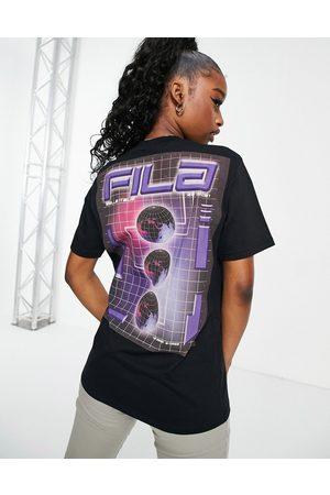 Fila Oversized backprint logo t-shirt in black