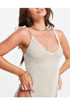 ASOS Crochet tie shoulder swimsuit in ivory-White